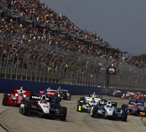 Will Power, driver of the #12 Verizon Team Penske Chevrolet, leads a pack of cars during the ABC Supply Wisconsin 250 at The Milwaukee Mile. (Photo by Jeff Zelevansky/Getty Images)